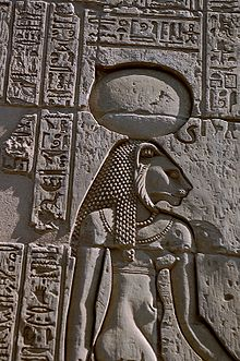 The warrior goddess Sekhmet, shown with her sun disk and cobra crown from a relief at the Temple of Kom Ombo. (Wikipedia)