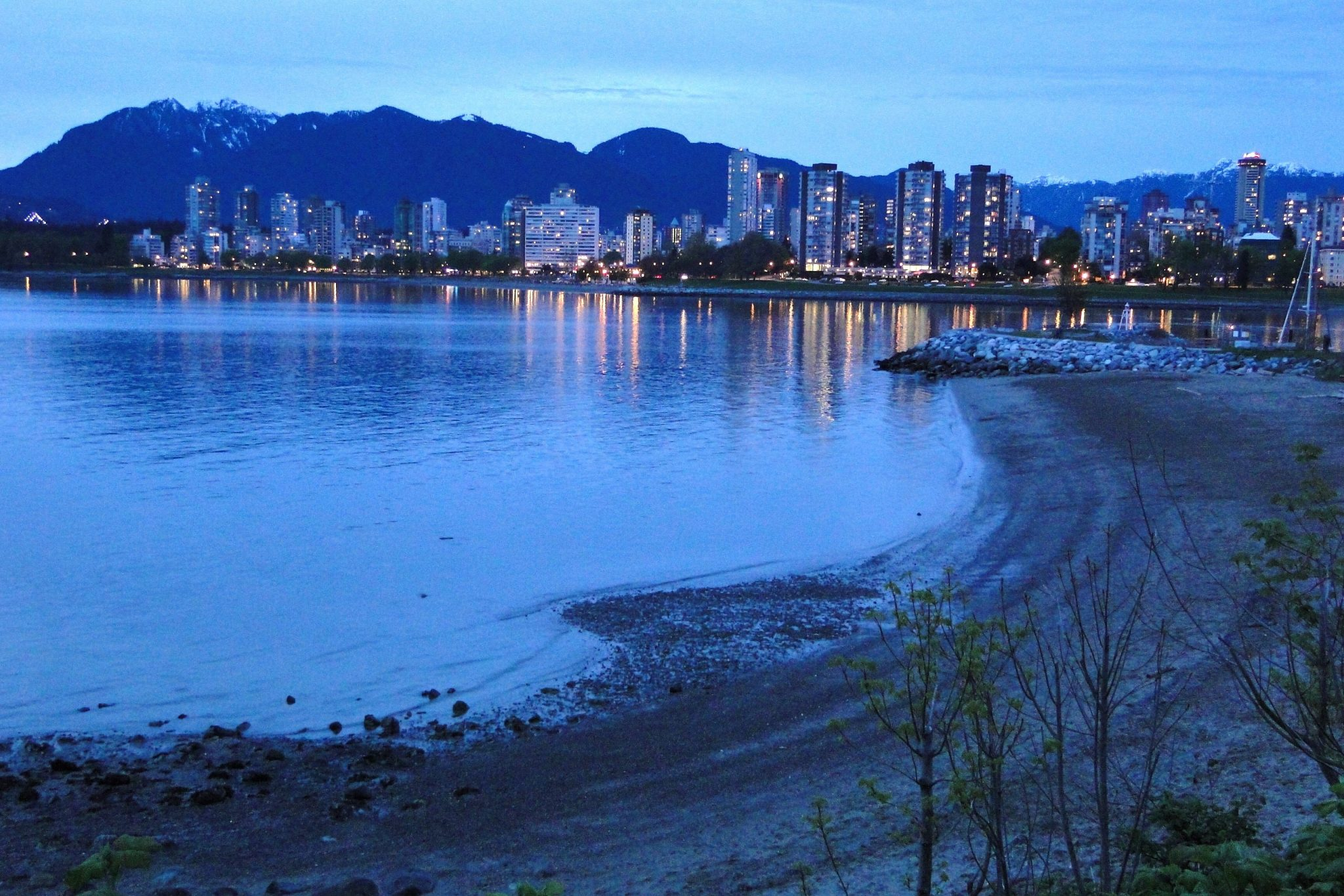 Dusk view looking downtown from Kits beach, Wikipedia